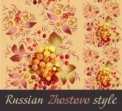 Listra sem emenda no estilo de Zhostovo do russo ilustração stock