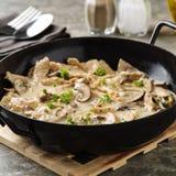 Listras da carne da soja no molho cremoso Fotos de Stock Royalty Free