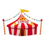 Listras da tenda do circus, do toldo, as vermelhas e as brancas, entretenimento, carnaval, divertimento Isolado, vetor, ilustraçã ilustração do vetor
