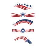 Listras e ícones do logotipo da bandeira da estrela dos EUA Imagem de Stock Royalty Free