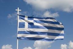 Listras gregas de ondulação da bandeira, as azuis e as brancas Fotografia de Stock