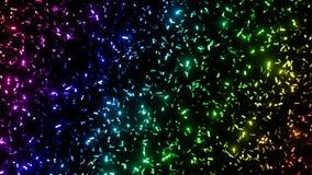 Listras metálicas do brilho dos confetes do twinkling em cores do arco-íris - na frente de um fundo preto Imagem de Stock Royalty Free
