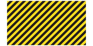 Listras retangulares listradas de advertência do fundo, as amarelas e as pretas na diagonal, um aviso a ser cuidadoso - o perigo  ilustração stock
