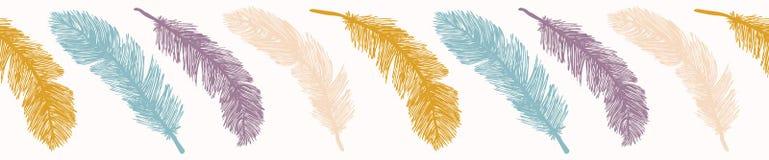 Listras sagrados das penas de pássaro Beira sem emenda tirada mão do vetor ilustração do vetor
