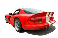 Listras vermelhas do branco do carro de esportes Fotografia de Stock