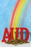 Listu AUD symbol dla dolara australijskiego, wpólnie Fotografia Royalty Free