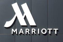 Listu Marriot hotel na fasadzie hotel zdjęcie stock