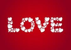 Listu miłosnego mieszkanie kłaść z białymi wektoru papieru sercami na czerwonym tle ilustracji
