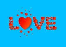 Listu miłosnego mieszkanie kłaść z czerwonymi wektoru papieru sercami na błękitnym tle Fotografia Stock