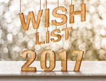 Listy życzeń 2017 drewniana tekstura na marmuru stole z iskrzastym bokeh Zdjęcie Stock