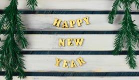 Listy i liczby, wpisowy szczęśliwy nowy rok 2018 na drewnianym Obraz Stock