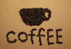 Listy kawa i filiżanki kształt Obrazy Stock