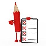 listy kontrolnej postać ołówek Fotografia Stock