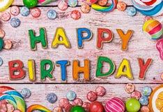Listy od wszystkiego najlepszego z okazji urodzin ciastek Zdjęcia Stock