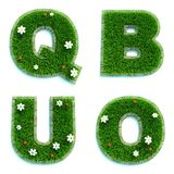 Listy Q, b, U, O jako gazon - set 3d royalty ilustracja