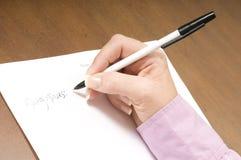 listy writing Fotografia Stock