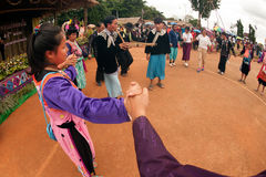 Lisu hill tribe traditional dancing in Thailand. Royalty Free Stock Photo