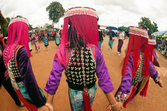 Lisu hill tribe traditional dancing in Thailand. Royalty Free Stock Photography