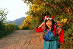 Lisu hill tribe woman in costume Stock Photos