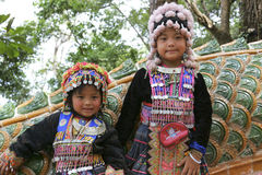 Lisu tribe children at the Wat Phra That Doi Suthep in Chiang Ma Stock Photo