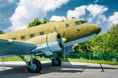 Lisunov Li-2 of Soviet Air Force standing near Stock Image