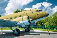 Lisunov Li-2 of Soviet Air Force standing near Stock Image