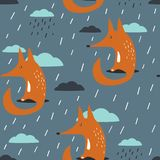 Lisy, chmury i deszcz, kolorowy bezszwowy wzór royalty ilustracja