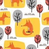 Lisy i drzewa, dekoracyjny śliczny tło Kolorowy Bezszwowy wz?r Z zwierz?tami ilustracja wektor