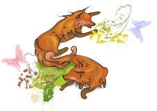Lisy i motyle ilustracja wektor