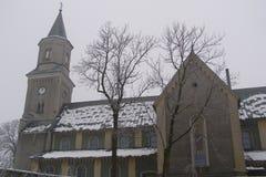 Liszki by lesser Polen Voivodeship Neo-romansk kyrka i för det Krakow länet, Royaltyfri Foto