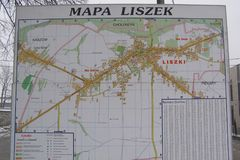 Liszki, village in Krakow County, lesser Poland Voivodeship Map of the County. A street map of Liszki village in Krakow County, lesser Poland Voivodeship stock photo
