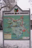 Liszki, village in Krakow County, lesser Poland Voivodeship Map of Turistic Fruit Trail. A street map inLiszki village in Krakow County, lesser Poland stock photography