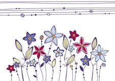 Lit avec les fleurs exagérées illustration stock