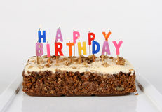 Lit Birthday Cake Royalty Free Stock Photo