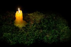 A lit candle on the forest dark moss. Part of Helloween decorati. On on black background Stock Photos