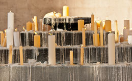 Lit candles in the chappel Stock Photo