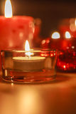 Lit Candles in the Dark Royalty Free Stock Photos