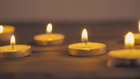 Lit candles stock footage