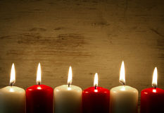 Lit candles, frame, background Stock Photo
