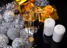 Lit Candles with Glasses of Festive Champagne Stock Images