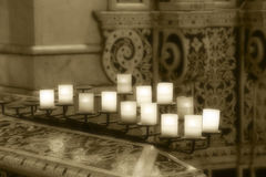 Lit candles inside a church, detail Stock Photography