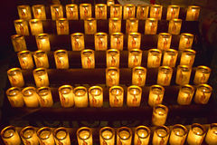 Lit Candles inside the Notre Dame Cathedral, Paris, France Stock Photography