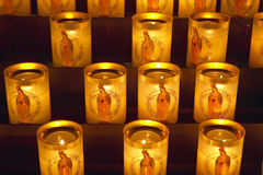 Lit Candles inside the Notre Dame Cathedral, Paris, France Royalty Free Stock Photos