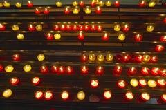 Lit Candles inside Notre Dame de la Garde, Marseilles, France Stock Photos