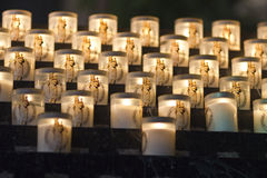 Lit Candles in Notre Dame. Du Paris For Prayer or Memorial stock photography