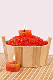 The lit candles and sea salt Stock Image