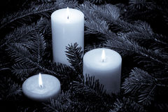 Lit candles sitting in a bed of branches Stock Image