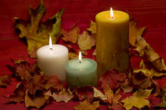 Lit candles sitting in a bed of maple leaves Stock Photos