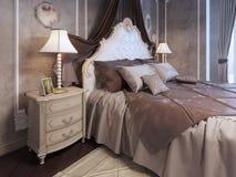 Lit cher à la chambre à coucher néoclassique illustration de vecteur
