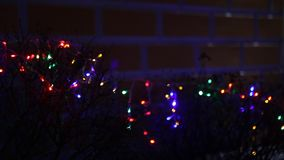 Lit christmas lights. Lit blurred out of focus christmas lights stock video